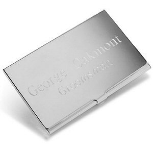 Engraved Silver Plated Business Card Case image