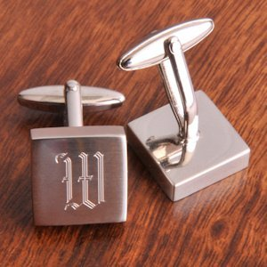 Engraved Square Initial Cufflinks image