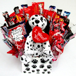 Paw Prints Valentine Candy Bouquet