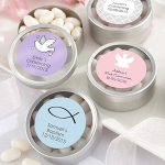 Baptism Round Candy Favor Tins (Set of 12)