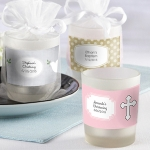 Frosted Glass Baptism Candle Favors