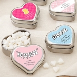 Filled Heart-Shaped Baby Shower Mint Tin Favors