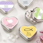 Metal Heart-Shaped Christening Mint Tin Favors