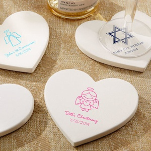 Personalized Baptism Heart Coaster Favors (Set of 12) imagerjs