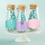 Baptism Themed Milk Bottle Favor Jars (Set of 12)