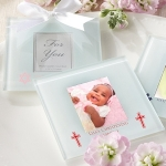 Custom Christening Photo Coaster Favors (Set of 12)
