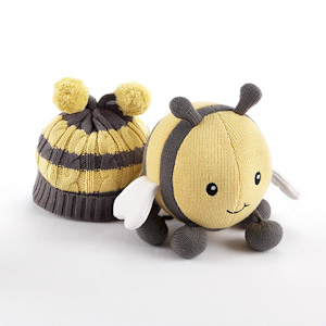 Critter Couture' Caps-Knit Bee Plush Toy and Knit Cap imagerjs