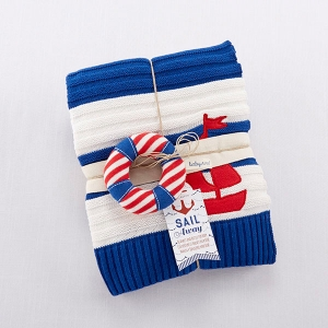Sail Away Classic Knit Cable Blanket & Rattle imagerjs