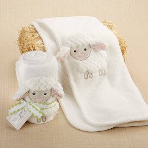 Love Ewe Lamb Plush Velour Baby Blanket imagerjs