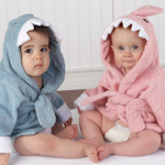 'Let the Fin Begin' Terrycloth Shark Robe (Pink or Blue)