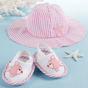 Coastal Cuties Sun Hat and Booties for Girl imagerjs