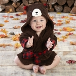 Beary Bundled Brown and Red Hooded Robe