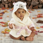 Beary Bundled Cream and Pink Hooded Robe