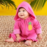 Tropical Pineapple Hooded Beach Zip Up