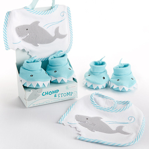 Chomp & Stomp Shark Bib and Booties Gift Set imagerjs