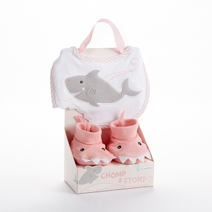 Chomp & Stomp Pink Shark Bib and Booties imagerjs