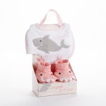 Chomp & Stomp Pink Shark Bib and Booties