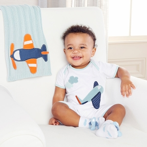Little Jet Setter Bodysuit and Sock Gift Set imagerjs