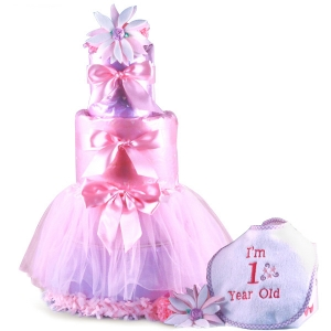 Baby's First Birthday Tutu Diaper Cake imagerjs