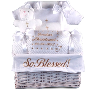 'So Blessed' Christening Baby Gift Basket imagerjs