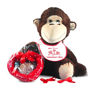 Giant Plush Monkey Valentine's Day Baby Gift Set imagerjs