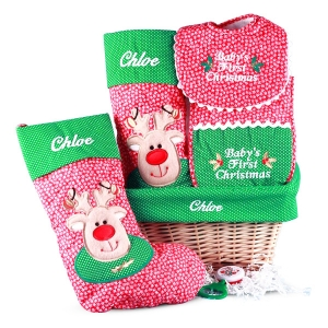 Baby's First Christmas Personalized Gift Basket imagerjs