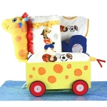 Giraffe Wagon & Sports Layette Baby Boy Gift