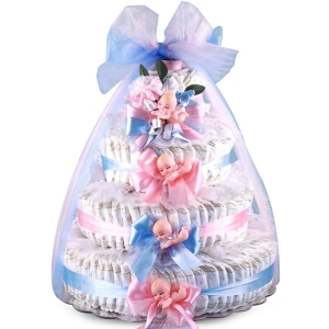Pink and Blue Baby Shower Diaper Cake imagerjs