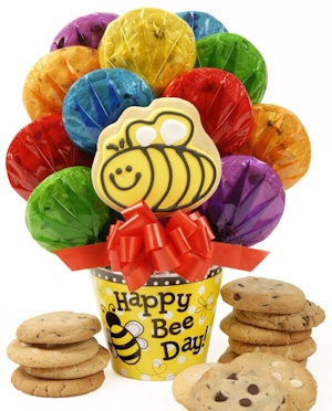 Happy Bee-Day Cookie Pot Bouquet imagerjs