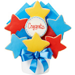 Congrats Star Decorated Cookie Bouquet