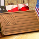 2lb Milk Chocolate Bar in American Flag Box (Case of 5)