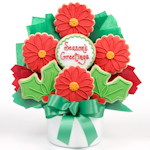 Poinsettia Holiday Cookie Bouquet Arrangement