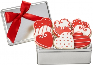 Fancy Hearts Valentine Cookie Tin imagerjs
