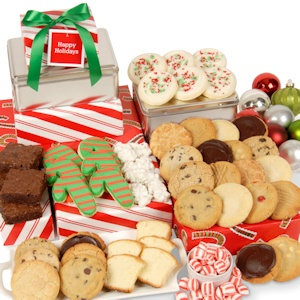 Deluxe Christmas Cookie Tower in Peppermint Striped Boxes imagerjs