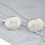 Engraved Silver Oval Initials Cufflinks