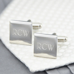Engraved Silver Square Cufflinks with Initials