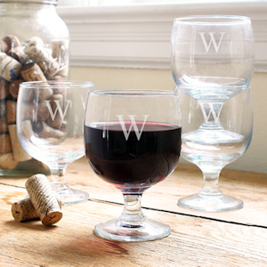 Personalized Stackable Low Stem Wine Glasses (Set of 4) imagerjs