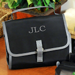 Personalized Black Micro Fiber Toiletry Bag for Men