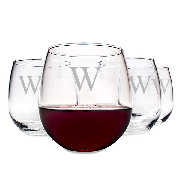 Personalized Stemless Red Wine Glasses Set Of 4