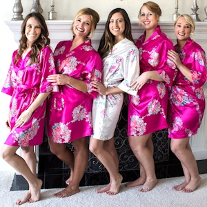 Personalized Floral Satin Robes (5 Colors) imagerjs