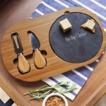Personalized Bamboo & Slate Cheese Board Set with Utensils