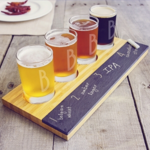 Personalized Bamboo & Slate Craft Beer Tasting Flight imagerjs