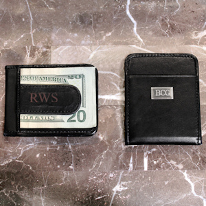Personalized Leather Money Clip Wallet imagerjs