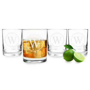 Circle Initial Drinking Glasses (Set of 4) imagerjs