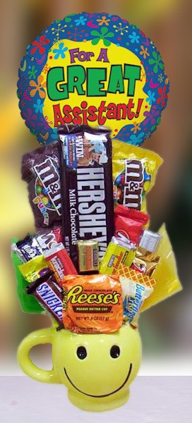 Assistant's Day Smiley Mug Candy Bouquet image
