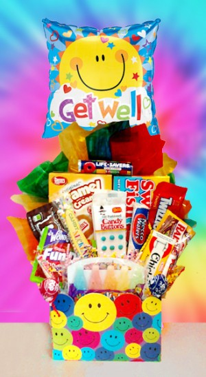 Retro Smiles Get Well Candy Basket image