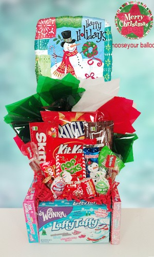 Happy Holidays Edible Base Candy Bouquet data-pin-no-hover=