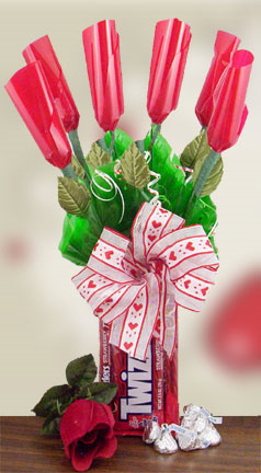 Hershey Kiss Roses in Twizzlers Edible Base image