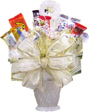 25th or 50th Wedding Anniversary Candy Bouquet data-pin-no-hover=