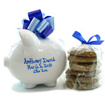 Personalized Boy Piggy Bank with Cookies